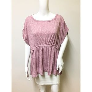 Caslon Women's Mauve Pink Peplum T-Shirt Sz Medium
